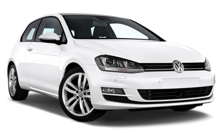 White Volkswagen VW Golf that is used to demonstrate how Cali Car Buyers buys all cars for cash.
